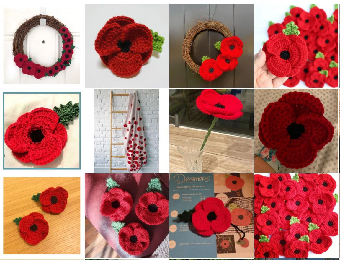 Online gallery of Deramores knitted poppies