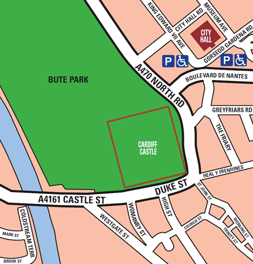 Cardiff Field of Remembrance map showing Cardiff Castle