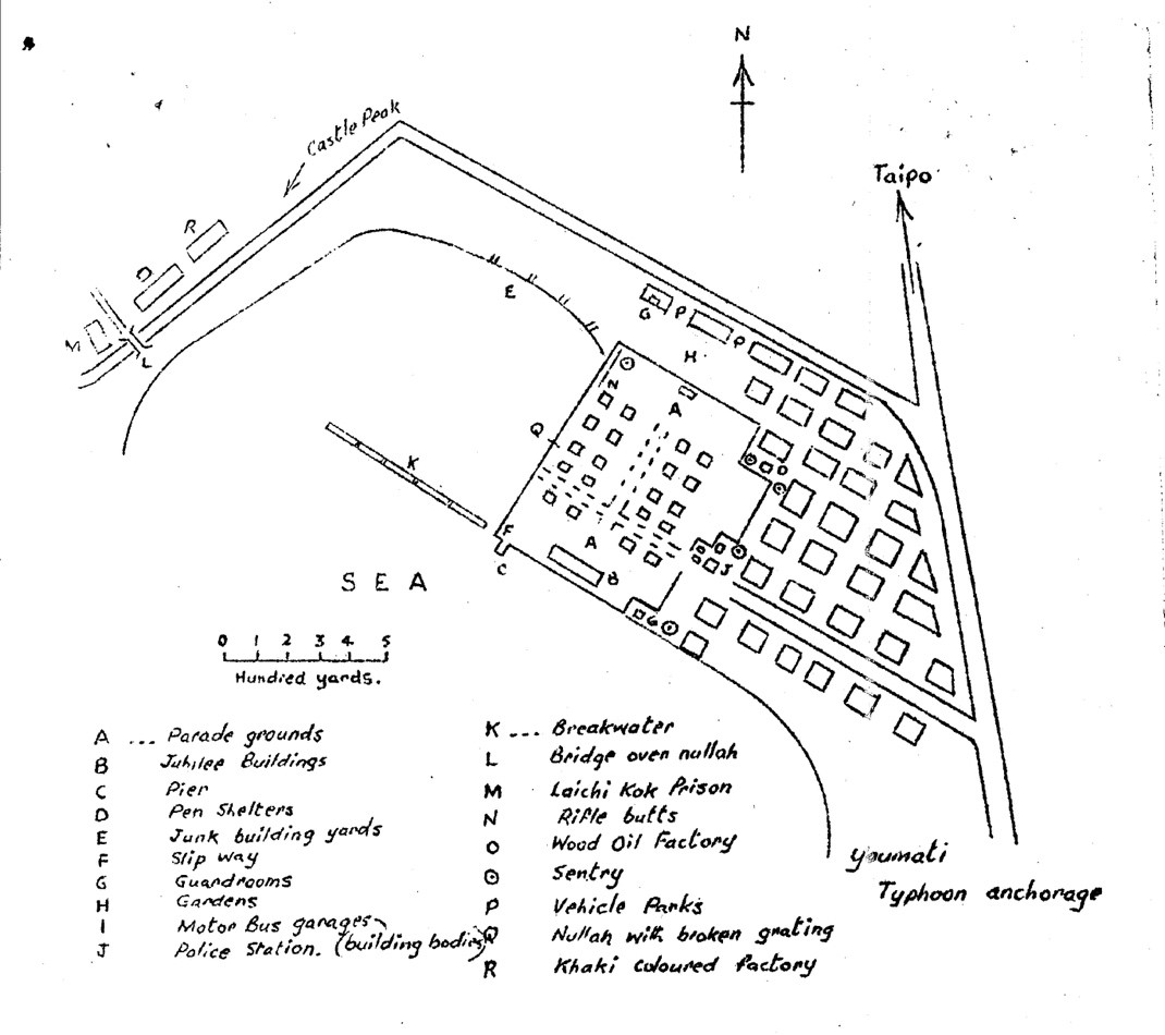 A sketch of Sham Shui Po POW camp in Hong Kong