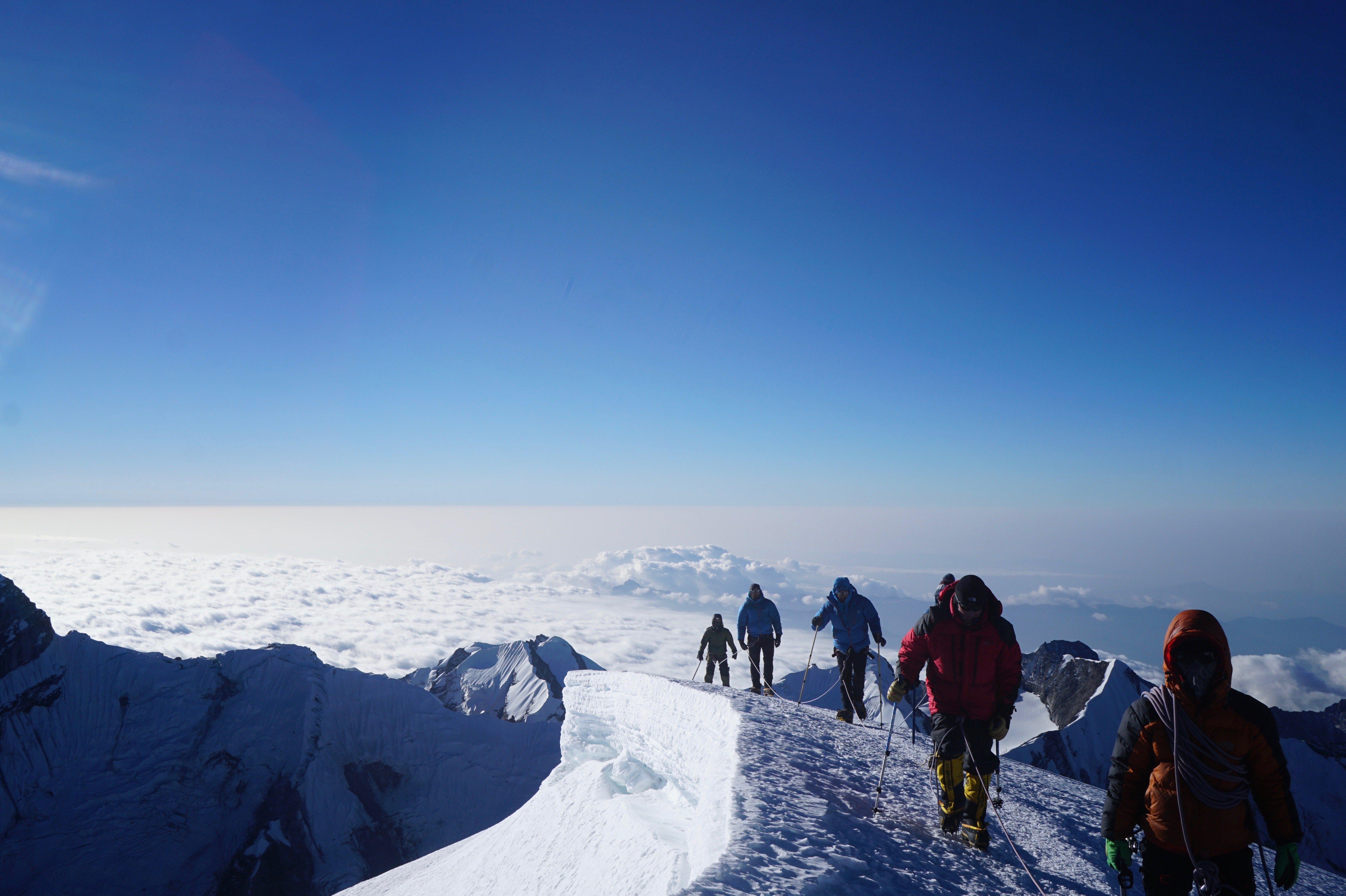 Members of the Mission Himalaya team approaching the summit of Mera Peak